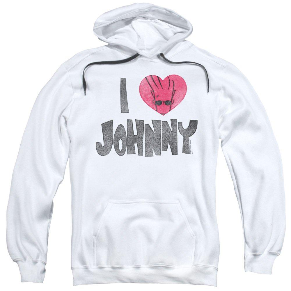blanc petit Johnny Bravo - - Pull I Heart sweat à capuche Johnny pour hommes