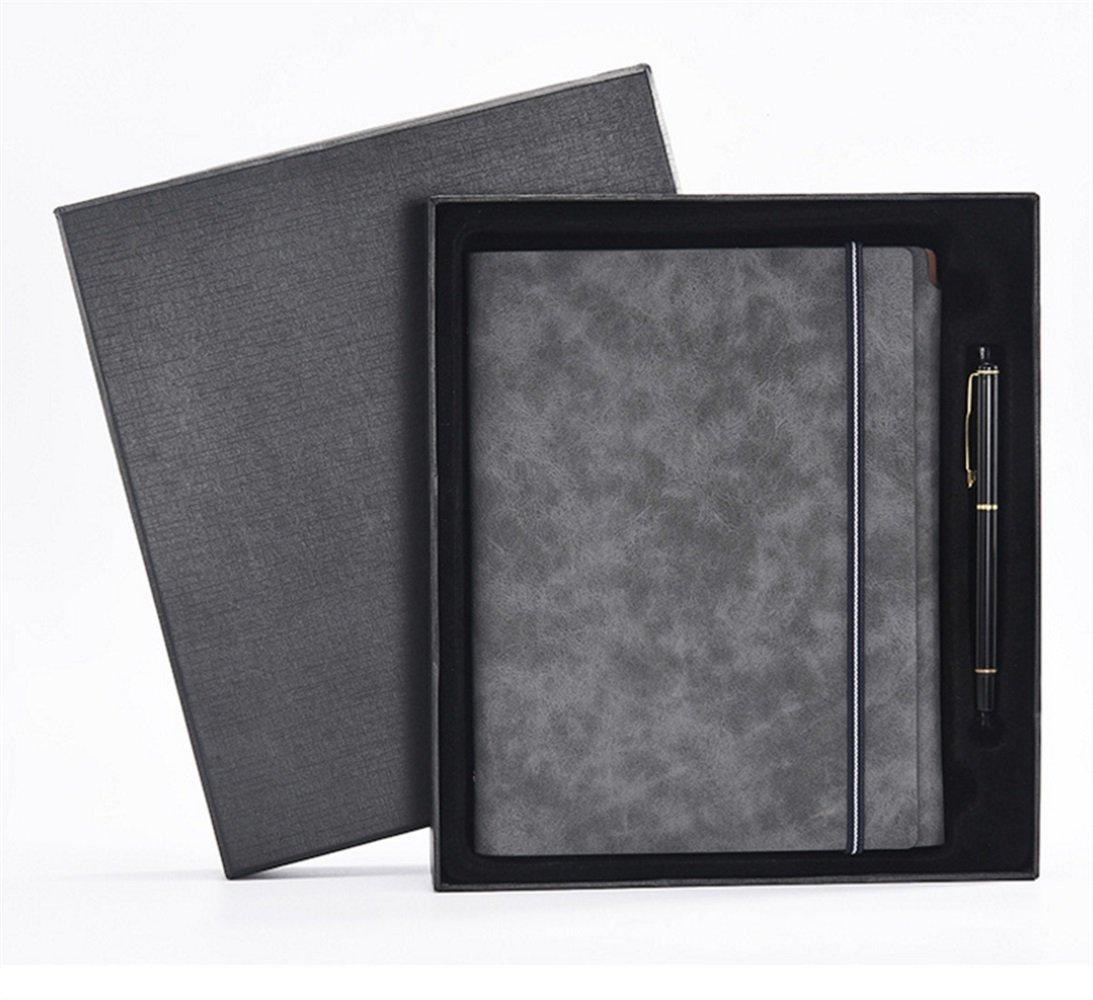 EoamIk de Regalo de EoamIk útiles Escolares Cuaderno de Hojas Sueltas PU con Juego de bolígrafos (Gris) f289cf