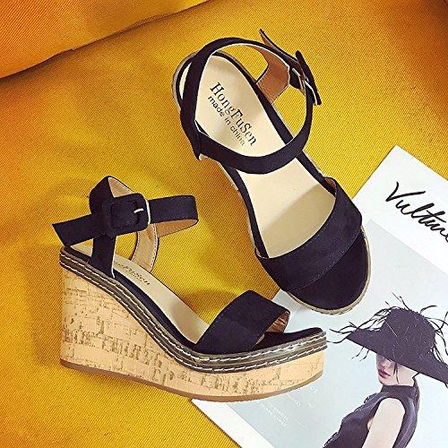Dony Boca de Pescado zapatos, zapatillas, sandalias y pendiente de mujeres Suede súper alta y color puro toe rocío plataforma impermeable inferior grueso. Thirty-nine