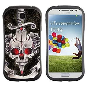 Be-Star Impreso Colorido Diseño Antichoque Caso Del Iface Primera Clase Tpu Carcasa Funda Case Cubierta Par SAMSUNG Galaxy S4 IV / i9500 / i9515 / i9505G / SGH-i337 ( dagger black red rose devil skull )
