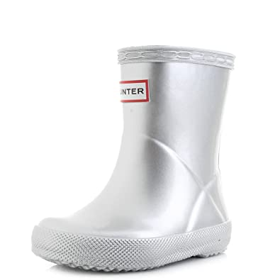 8ba0a63a0c3 Hunter Kids First Classic Metal Silver Rubber Wellies Wellington ...