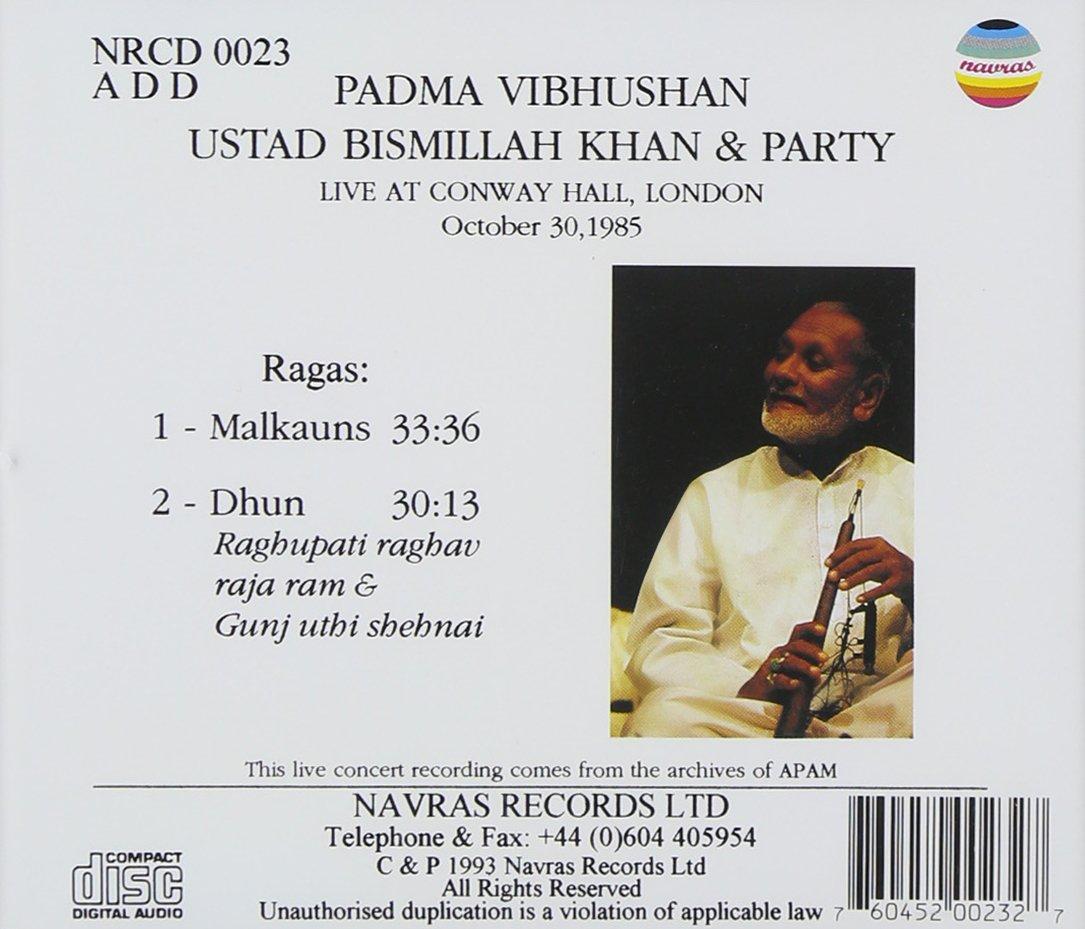 Ustad Bismillah Khan Live in London, Vol. 2 (Raga Malkauns & Dhun) by Navras (Image #2)