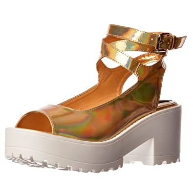 ff655c8ab2de Shoekandi Womens Ladies Peep Toe Chunky Cleated Sole Block Heel Strappy  Platform Summer Sandals - White