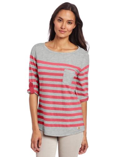Carhartt Women's Cheyenne Three Quarter Sleeve Boatneck Shirt,Bright Pink (Closeout),Medium ()