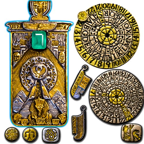 Egyptian Oracle Pendant in Sterling Silver, Platinum & 24k Gold Accents: Decodes Tarot, Numerology Planetary, Zodiac, Hebrew Alphabet Brotherhood of Light 100s of Authentic Hieroglyphs for Psychic Reading & Wisdom: ()