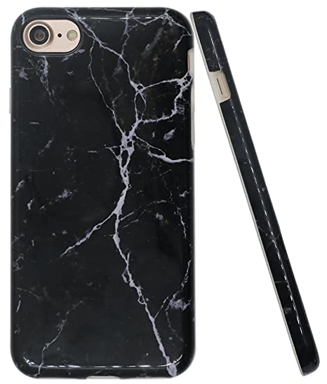 buy popular f3177 33176 iPhone 8 Black Marble Case, iPhone 7 Case, A-Focus IMD Design Marble  Pattern Stone Texture Soft Flexible TPU Slim Fit Cover Case for iPhone 7 /  iPhone ...