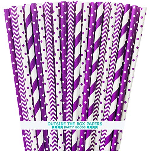Purple Paper Straws - Stripe Chevron Polka Dot - 7.75 Inches - 100 Pack - Outside the Box Papers -