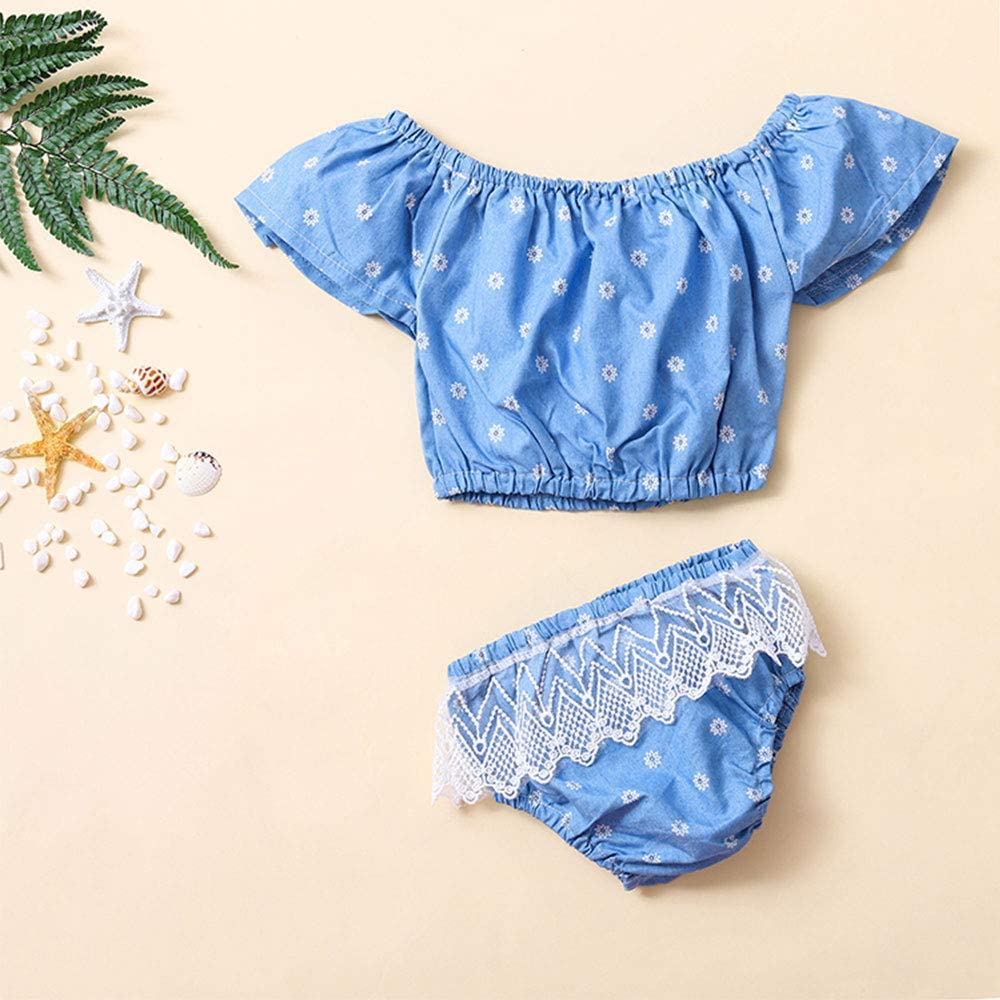 Toddler Infant Baby Girls Summer Clothes Flower Sling Tops Bow-Knot Short Beachwear Outfits