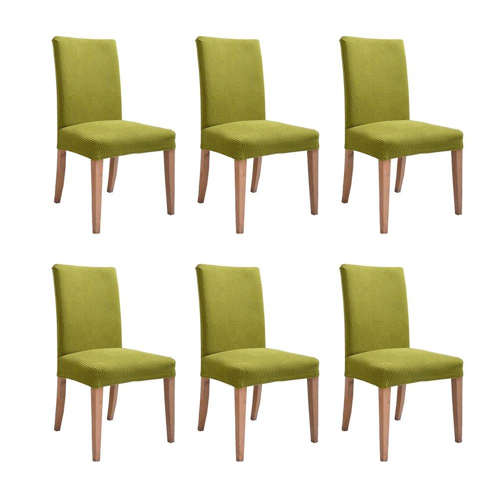Inroy Fundas para Sillas de comedor cubierta el/ástica de la silla Paquete de 6 Beige