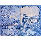 PANNEAU MURAL PEINT de 60x45cm (12 carreaux de 15x15x0,5cm) – Peinture sur faience émaillée