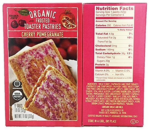 Trader Joes Organic Frosted Toaster Pastries - Cherry Pomegranate (2 pack)