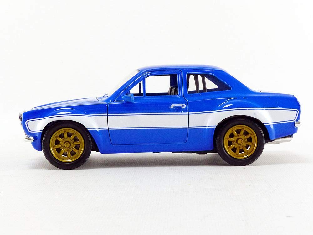 Amazon.com: 1970 Brians Ford Escort Blue with White Stripes Fast & Furious Movie 1/24 Diecast Model Car by Jada 99572: Toys & Games