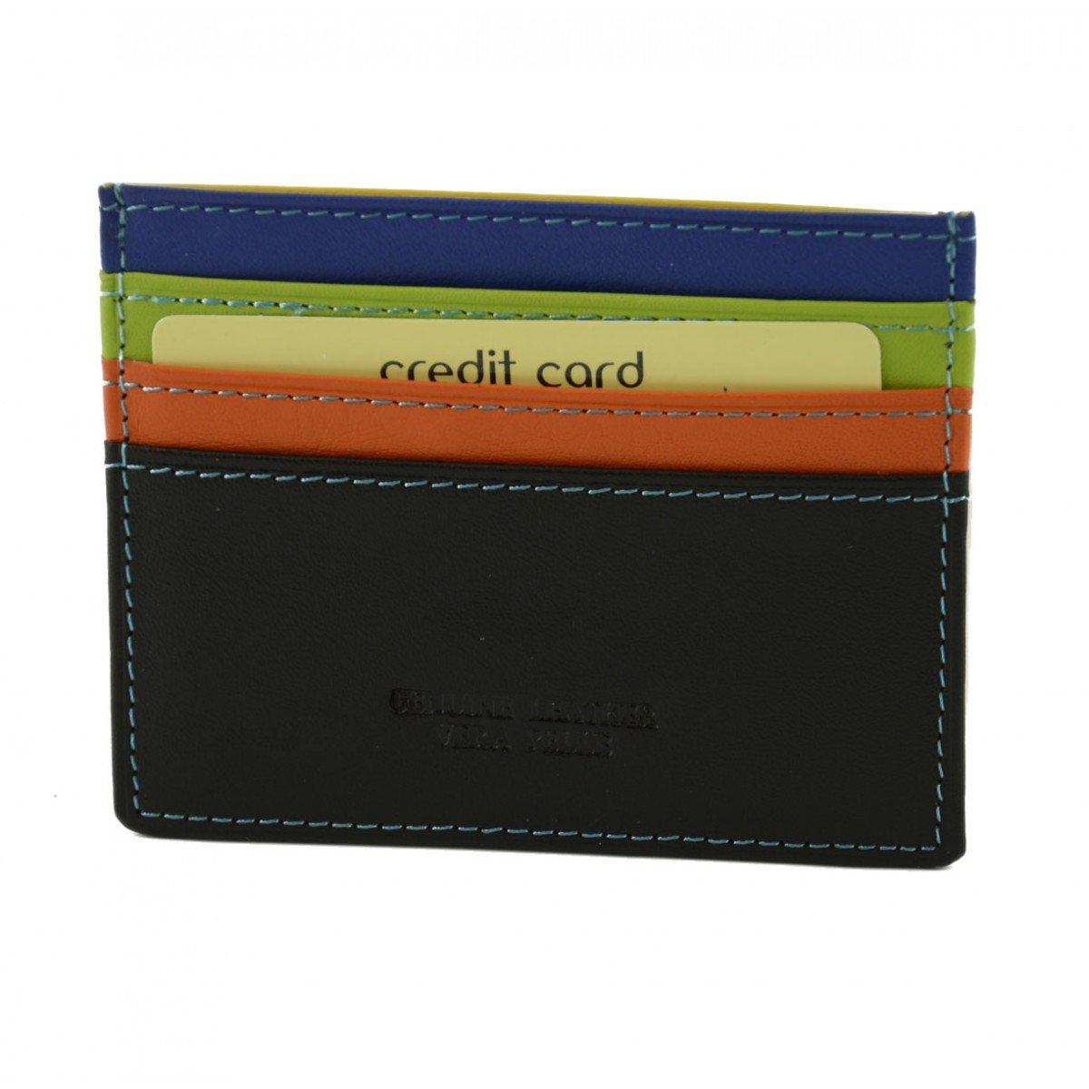 Genuine Multicolor Leather Cardholder Color Black