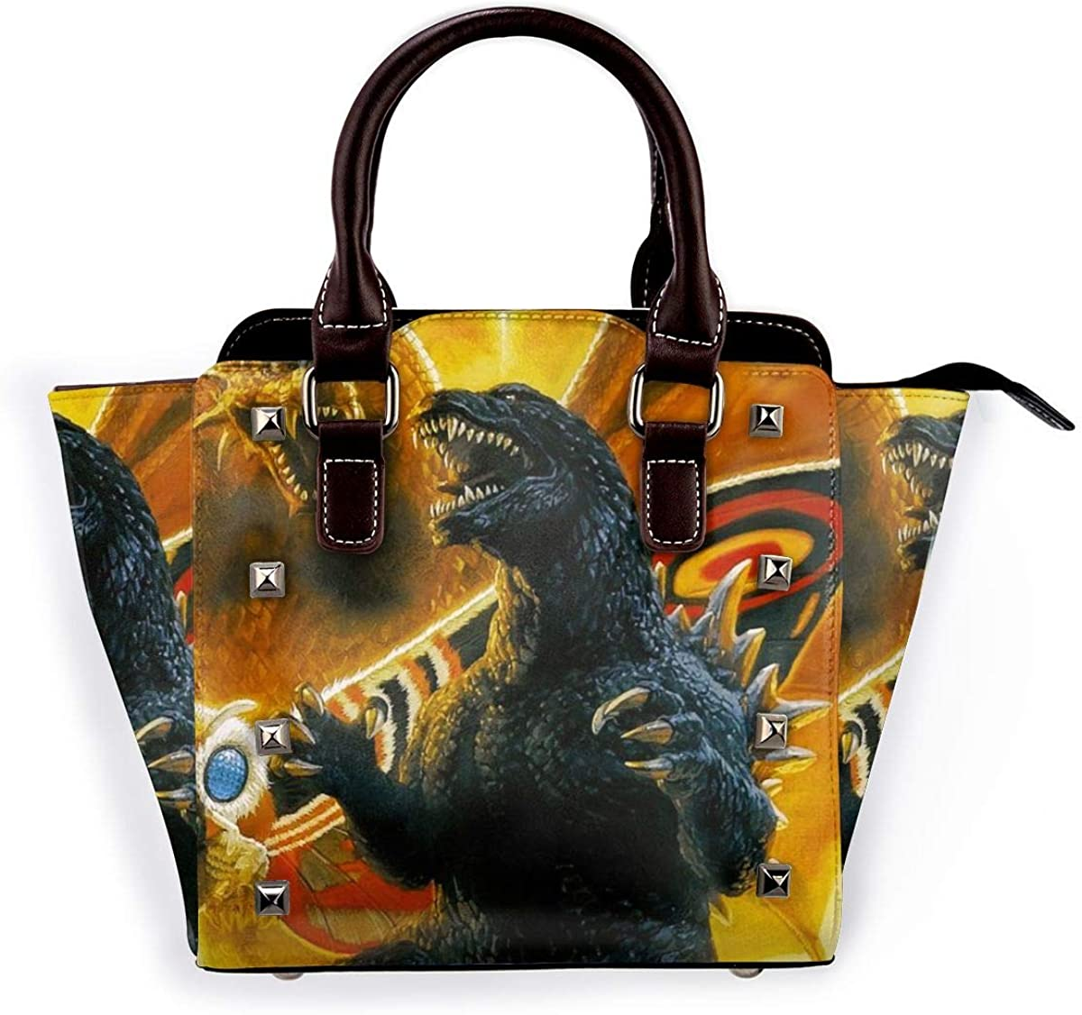 Woman God-Zilla King Of The Monsters Leather Rivet Shoulder Bag Crossbody Bag Business Satchel Purse Travel Gym Shopping Adjustable Shoulder Strap