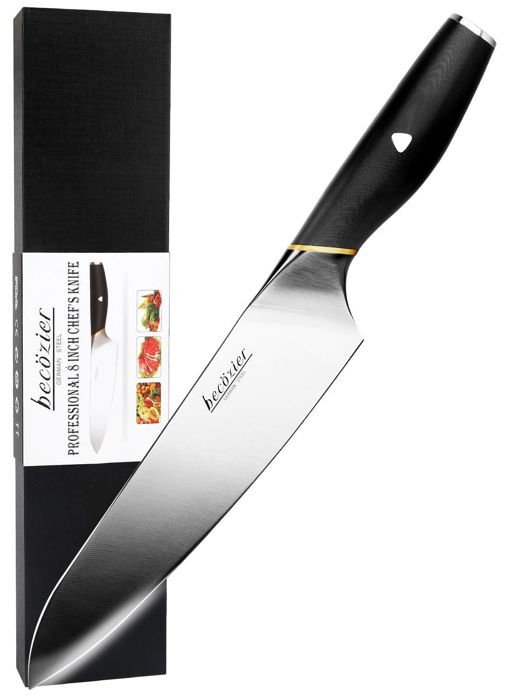 Becozier Kitchen Chef Knife, 8'' Professional German Stainless Steel Kitchen Knife with G10 Handle Sharp Edge Ergonomic Grip