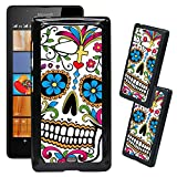 [TeleSkins] - Microsoft Lumia 540 Designer Plastic Case - Sugar Skull Dia De los Muertos - Ultra Durable HARD PLASTIC Protective Snap On Back Case / Cover for Microsoft Lumia 540.
