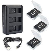 Newmowa Batería de Repuesto (3-Pack) y Kit de Cargador para Micro USB portátil para Gopro Hero5 Hero6 Hero7 Black Hero 2018 GoPro AHDBT-501 AABAT-001