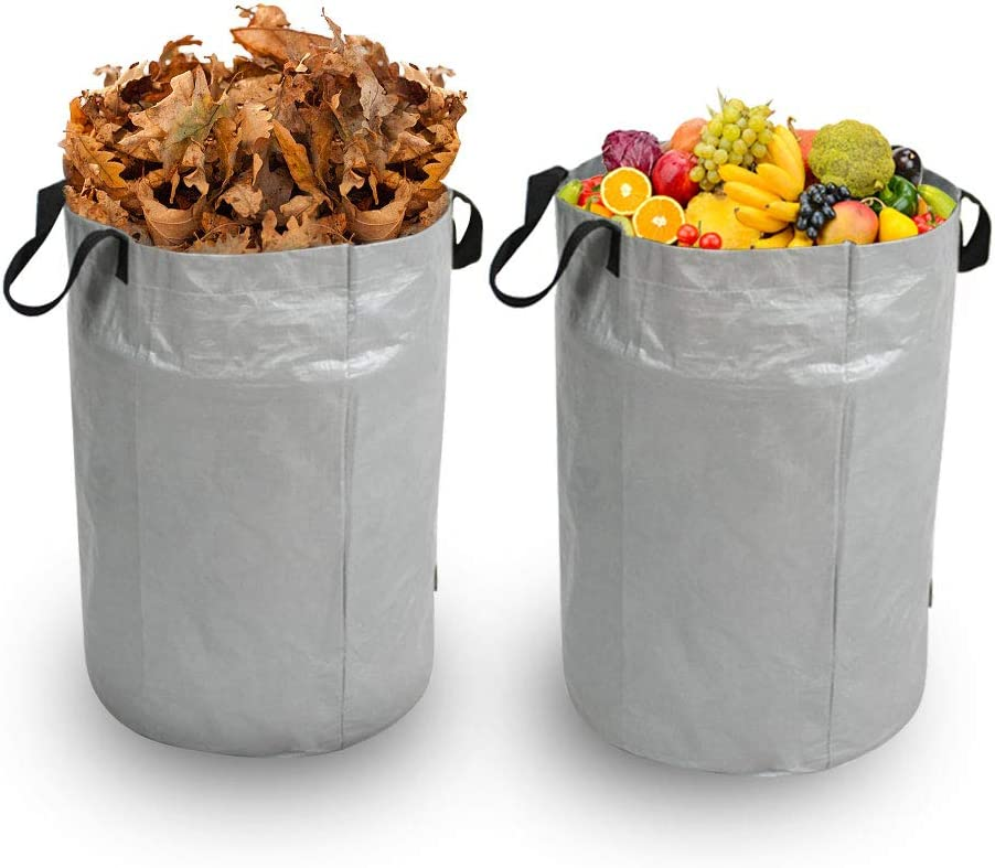Iptienda 2-Pack 72 Gallons Reusable Garden Waste Bags- Heavy Duty Portable Yard Waste Bag Storage Bag, Lawn Pool Garden Collapsible Trash Can Bag Holder for Lawn, Leaf, Fruits, Vegetables