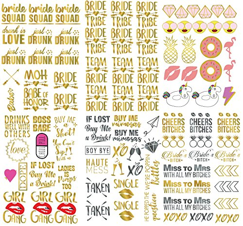 Bachelorette Party Tattoos Bride Gift Bride Tribe Bridal Shower Party Favors Hen Party Rose Team Bride Tattoos, 7 Sheets, 110+ Tattoos