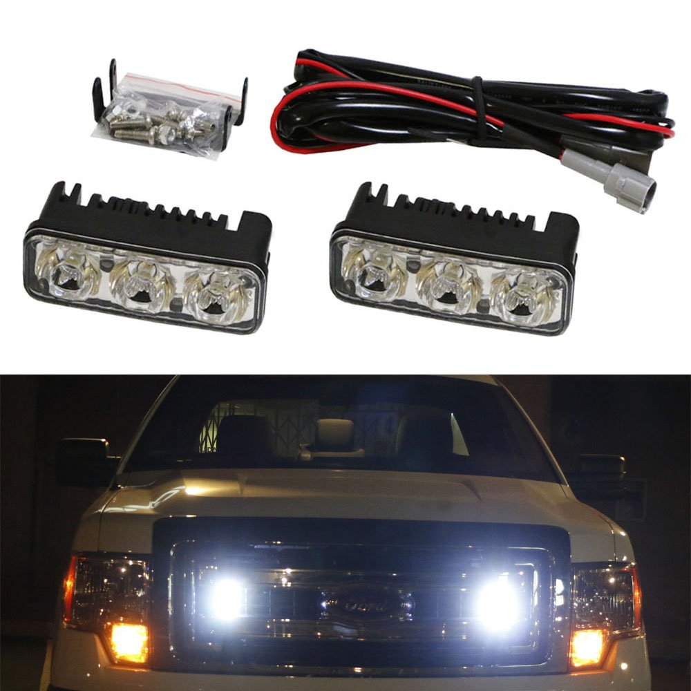 High Power 3-LED Daytime Running Light Kit For Truck SUV 4x4 Behind Grille 2 Cool White Color iJDMTOY Auto Accessories Universal Fit LED Daylight DRL Lighting iJDMTOY
