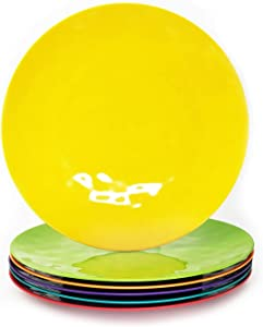 12 Piece 100% Melamine Dinner Plate Set,10inch Round Melamine Salad Plates Picnic Plates for Holiday Home Party,Break-resistant and Lightweight,Hammered Finish(Multicolor)