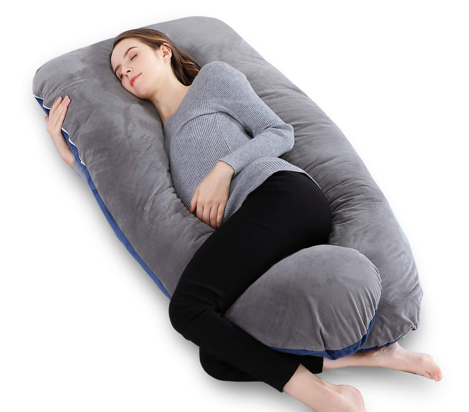 INSEN U Shaped Pregnancy Pillow,Full Body Maternity Pillow with Zipper Velvet Cover
