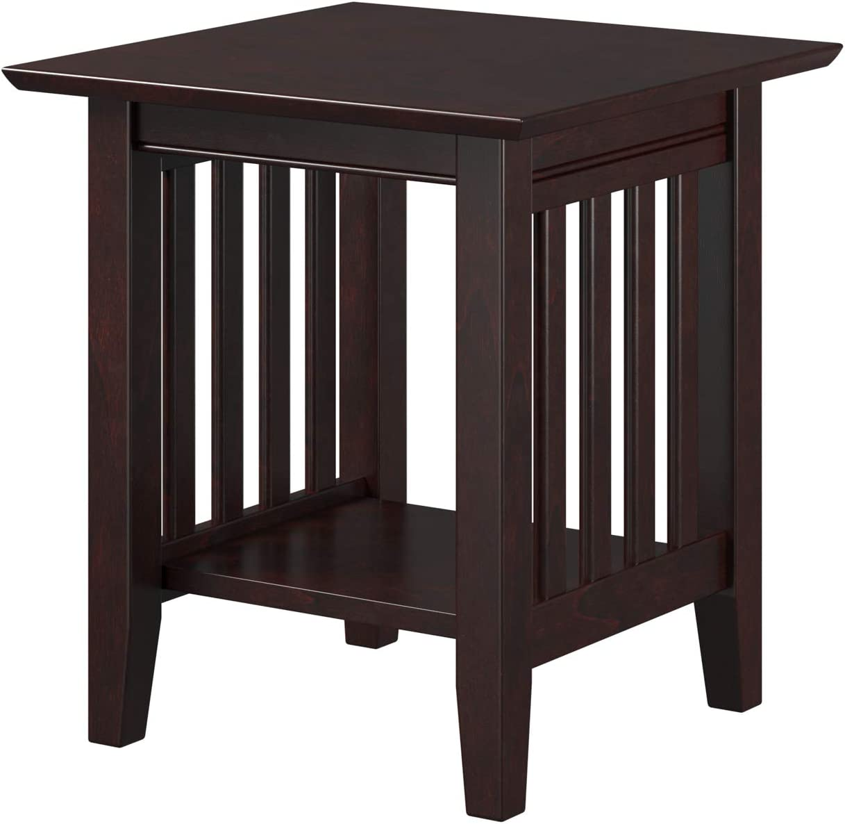 "Atlantic Furniture Mission End Table, (20"" x 20""), Espresso"