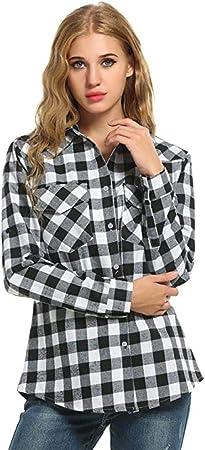 Heeecgoods Camisas con Botones de Franela a Cuadros de Mujer Blusa con Manga Casual (Color : Gris, tamaño : X-Large): Amazon.es: Hogar