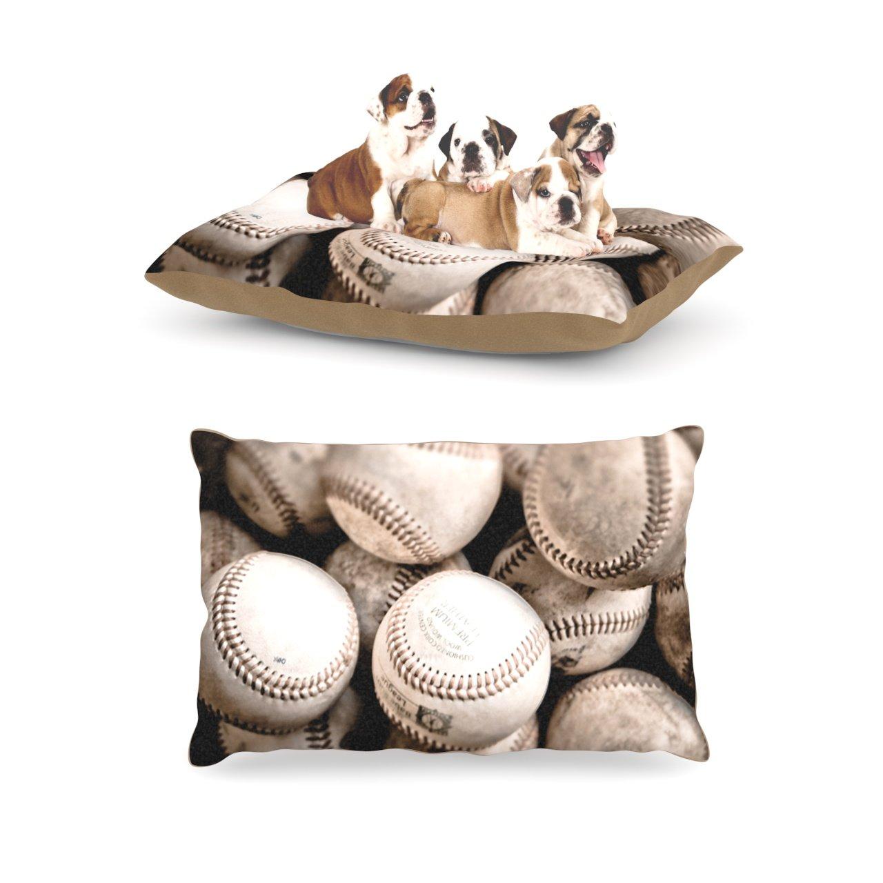 Large 30\ Kess InHouse Debbra Obertanec Play Ball  Baseball Dog Bed, 50 by 60-Inch