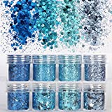 COKOHAPPY 8 Boxes Sky Blue Glitter Mermaid Dreams Ultra-thin Festival Holographic Cosmetic Chunky Sequins Iridescent Flakes Hexagon Tips Mixed Paillette Face Body Hair Nails Cosmetic Glitter