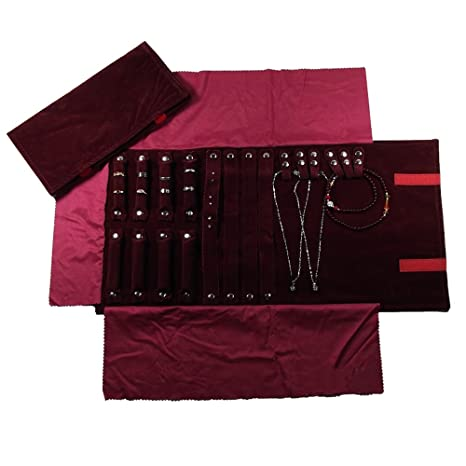 UnionPlus - Pequeño estuche enrollable organizador de joyas para viaje. Apto para collar , pulsera, aretes, anillo, color Borgoña