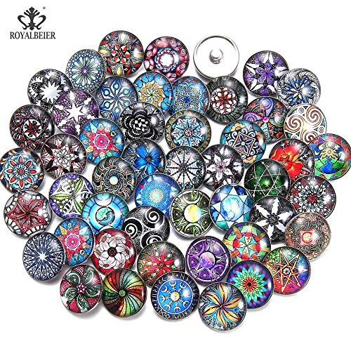 Mixed Beautiful Pattern Charms 18mm Glass Snap Button | for DIY Bracelet Snaps Jewelry Making (50pcs/lot)