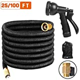 Expandable Garden Hose, 25FT Flexible Water Hose, Triple Layer Latex & 8 Patterns Spray Nozzle for Home & Heavy Duty Commercial Use By Uvistare