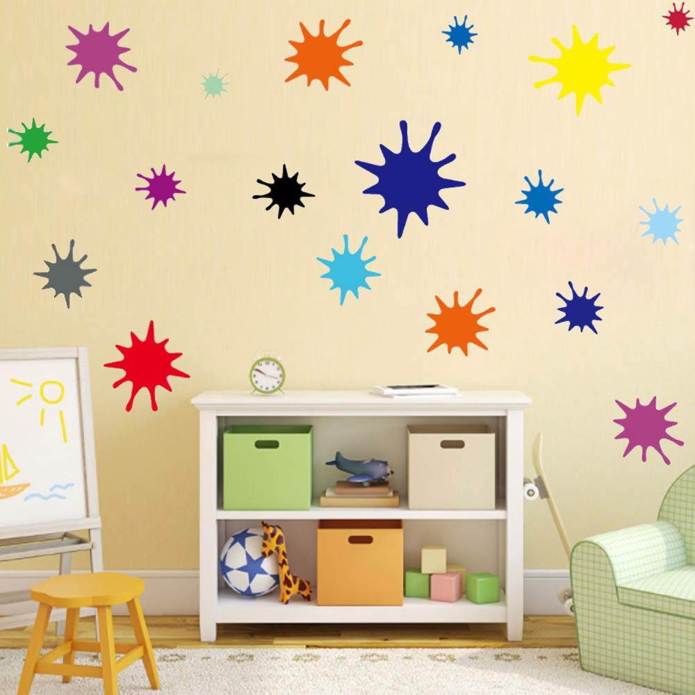 Amazon.com: Kids Wall Decals Primary Color Paint Splash Room Decor Wall Art  Colorful Nursery Wall Decor Stickers 38 Drops: Baby