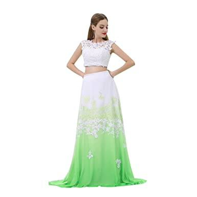 Loveinwedding Womens Modest Two Piece Prom Dresses Cheap Lace Formal Evening Gowns Imported Party Dress