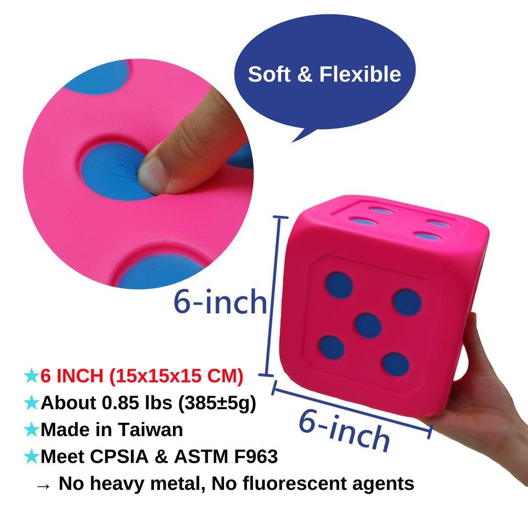 Macro Giant 6 Inch Soft Foam Jumbo Big Playing Dice, Set of 4,Neon Color, Math Teaching, Teaching Aids, Board Games, Kid Toy by MG MACRO GIANT (Image #2)