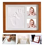 Dproptel Baby Handprint and Footprint Real Wood Photo Frame Kit - Unique Baby Shower Gifts for Registry, Memorable Baby Birthday Keepsakes, Room Decorations (Brown)