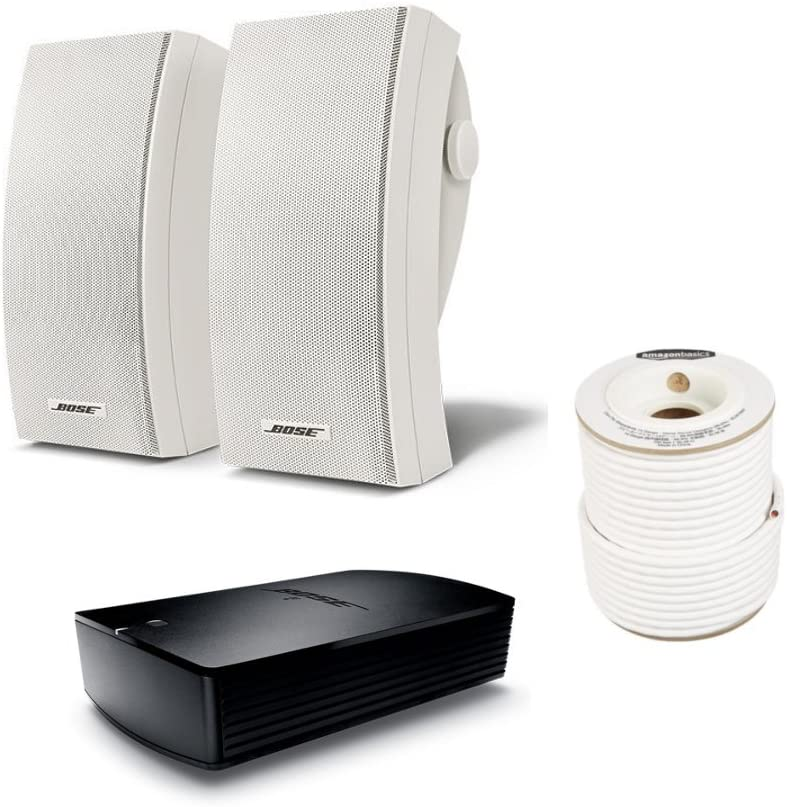 Bose 251 Wall Mount Outdoor Environmental Speakers (White) with SA-5 Amplifier and AmazonBasics Speaker Wire - 14-Gauge, 99.9% Oxygen-Free Copper, 100 Feet