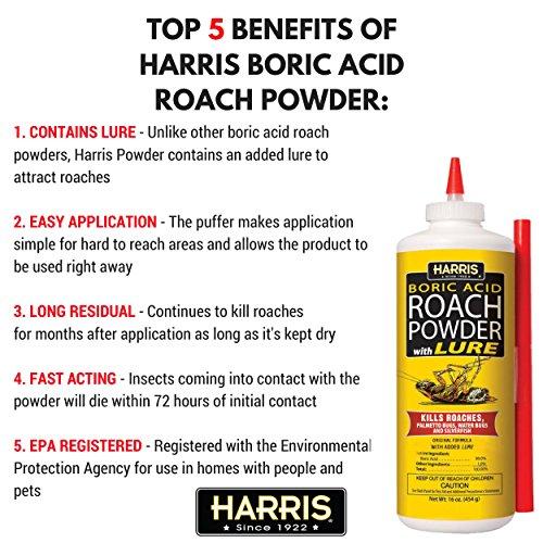 HARRIS Boric Acid Roach and Silverfish Killer Powder w/Lure (16oz)