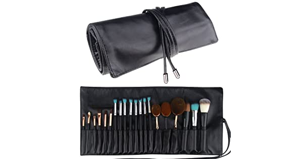 Makeup Brush Rolling Case Pouch Holder Cosmetic Bag Organizer Travel  Portable 18 Pockets Cosmetics Brushes Black Leather Case f02a49ef5d92a