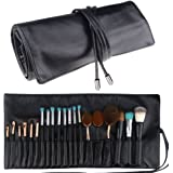 Samtour Makeup Brush Rolling Case Pouch Holder Cosmetic Bag Organizer Travel Portable 18 Pockets Cosmetics Brushes Black Leather Case