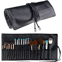 Relavel Makeup Brush Rolling Case Pouch Holder Cosmetic Bag Organizer Travel Portable 18 Pockets Cosmetics Brushes Black Leather Case