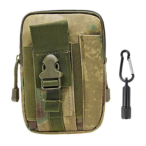 Tactical Pouch - Compact Water-resistant Multi-purpose Molle EDC Utility Gadget Gear Tools Organizer - Waist Bags Pack Cell Phone Holster - Free Bonus Mini Keychain Flashlight (FG, - Floral Flush Gold