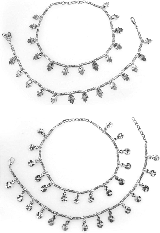 Efulgenz Indian Silver Tone Bell Charms Tassel Chain Anklet Set Bracelet Payal Foot Jewellery