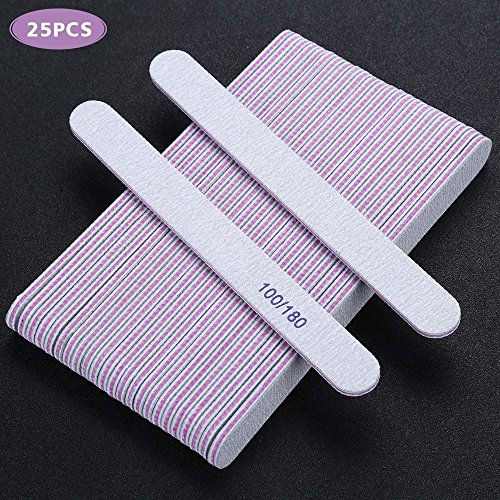 BTYMS 25Pcs Nail Files Double Sided Emery Board (100/180 Grit) - Nail Buffering Files for Home and Salon ()