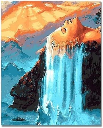 Vanzelu Cheveux Cascade Image Par Numeros Sur Le Mur Peinture Sur