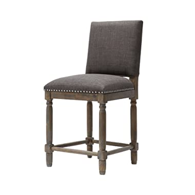 ModHaus Living Modern Rustic 26 inch Reclaimed Wood Finish Counter Height Bar Stool with Back - Includes Pen (Gray)