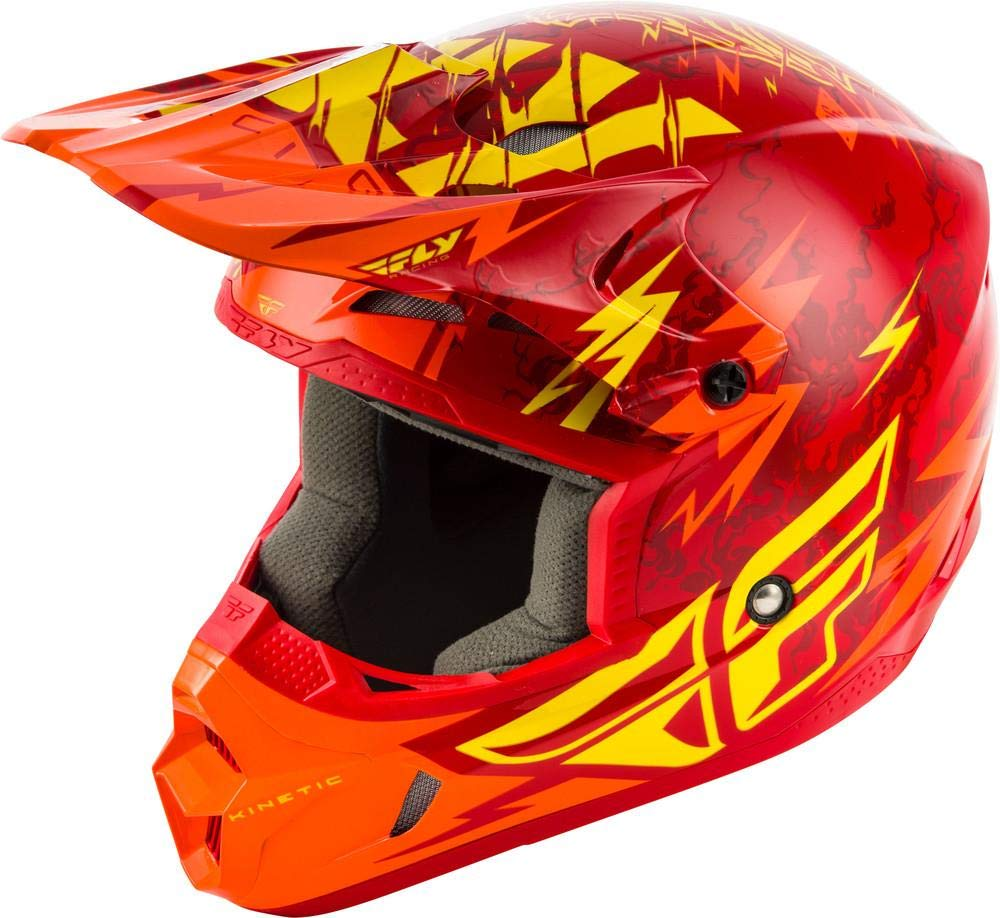 Fly Kinetic Shock color rojo y amarillo talla M Casco para ni/ño