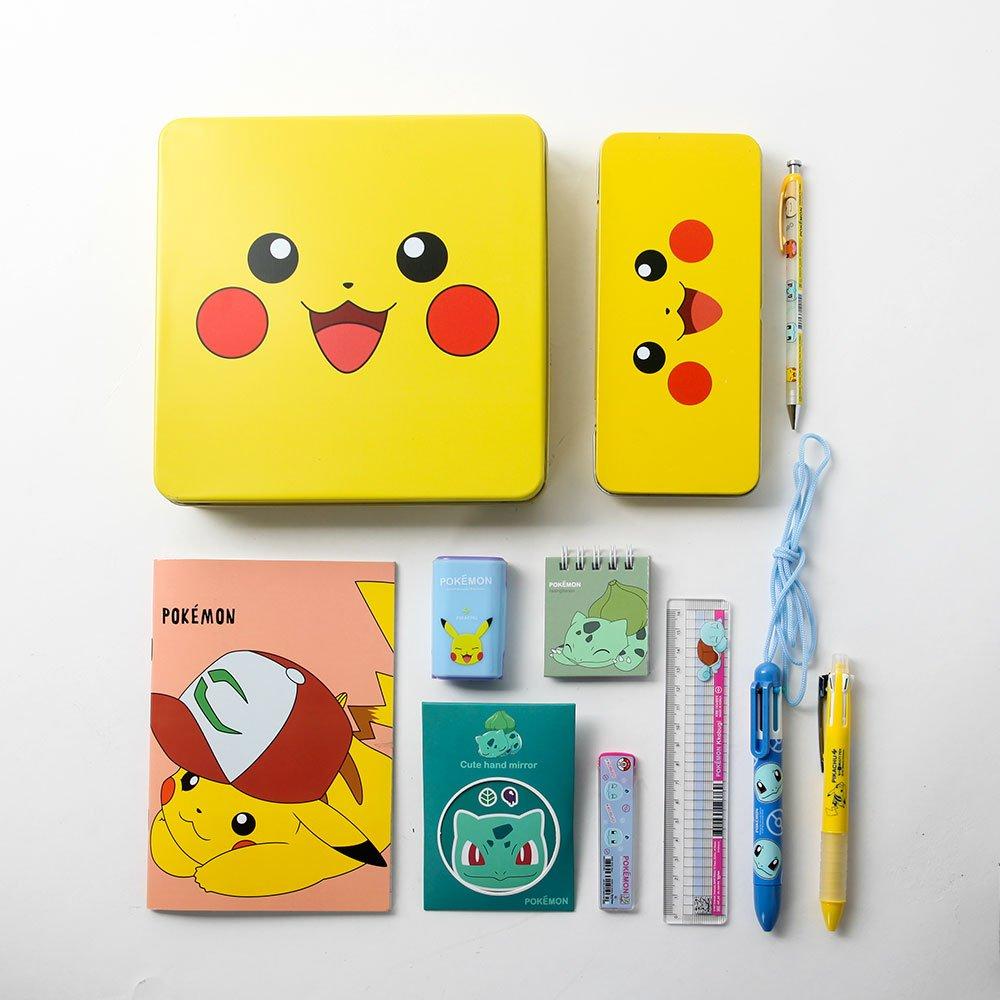 Pokemon Pikachu Cute Stationery School Supplies Box Set : Pencil Case, Mini Notebook, Multi Pen, Six-Color Necklace pen, Sharpener With Tin Case