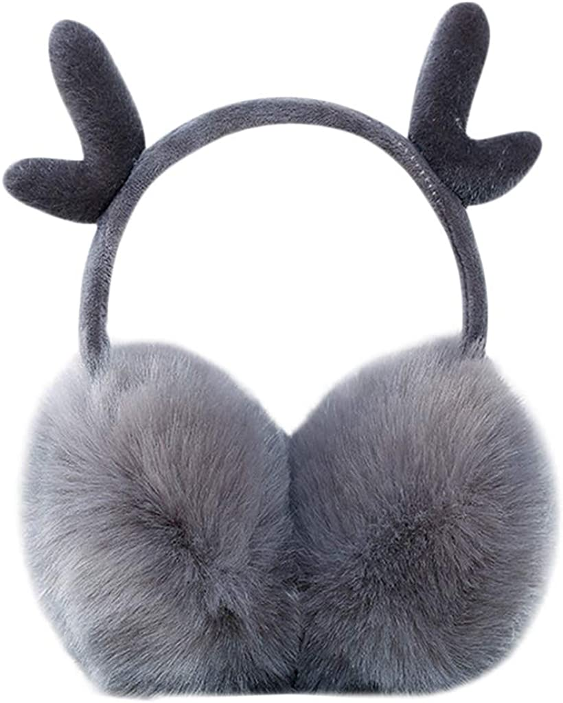 Christmas Elk Gift Merry Christmas Festival Winter Earmuffs Ear Warmers Faux Fur Foldable Plush Outdoor Gift